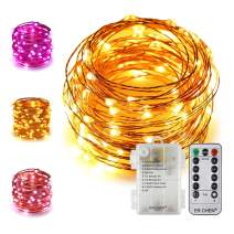 ER CHEN 33Ft 100 LED String Lights, Battery Operated Copper Wire Color Changing Christmas Fairy Lights with 8 Modes Remote Control Timer for Bedroom, Patio, Wedding and Party (Warm White & Purple)