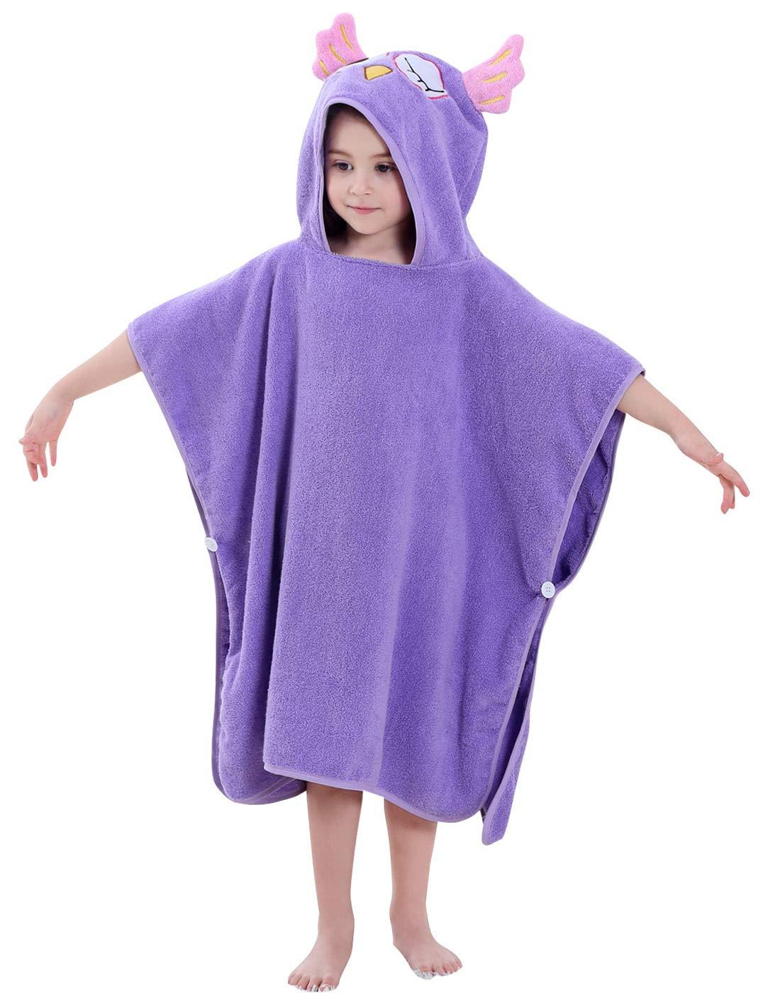 "Baby Boys Cotton Bath Towel Soft Hooded Beach Towel Bathrobe Wrap Absorbent Washcloth for Kids Shower 27.5""x27.5"" Purple"