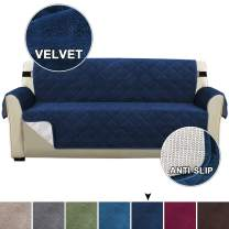 Turquoize Quilted Microfiber Velvet Sofa Protector Couch Covers for 3 Cushion Couch Slip Resistant Furniture Protector Cover with Elastic Straps Sofa Furniture Cover for Dogs, Kids (Sofa, Navy)