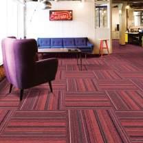 Carpet Tiles Commercial Carpet Tiles Carpet Floor Tiles Carpet Tile 20x20inch for Bedrooms Living Rooms Kids Rooms Office Decor with Anti-Slip Asphalt Bottom Backing Red Stripe 706 24Tiles