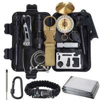 Lanqi Gifts for Men, Emergency Survival kit 16 in 1, Survival Gear, Tactical Survival Tool for Cars, Camping, Hiking, Hunting, Fishing
