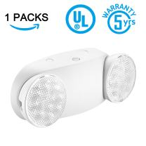 SPECTSUN Emergency Light White, Commercial Emergency Light with Battery Backup, Emergency Lighting Fixture/Emergency Light Combo/Emergency Sign Light//Emergency Light Home - 1 Pack (Round Head)
