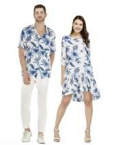 Couple Matching Hawaiian Luau Shirt 3/4 Sleeve Ruffle Dress in Neon Sunset