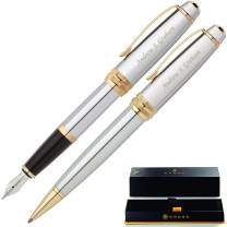 Cross Pen Set | Engraved/Personalized Cross Bailey Medalist Ballpoint and Fountain Gift Pen Set. Custom Engraved Case Included