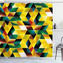 "Ambesonne Modern Art Shower Curtain, Trippy Dimensional Geometric and Triangles Abstract Futuristic Design, Cloth Fabric Bathroom Decor Set with Hooks, 70"" Long, Yellow Green"