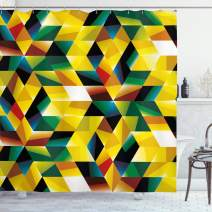 """Ambesonne Modern Art Shower Curtain, Trippy Dimensional Geometric and Triangles Abstract Futuristic Design, Cloth Fabric Bathroom Decor Set with Hooks, 70"""" Long, Yellow Green"""