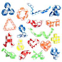 Ganowo 18 Pack Fidget Snake Cube Sensory Toys Mini Magic Twist Puzzle Party Favors for Kids Teens Birthday, Goodie Bags Fillers, Classroom Rewards, 24 Blocks