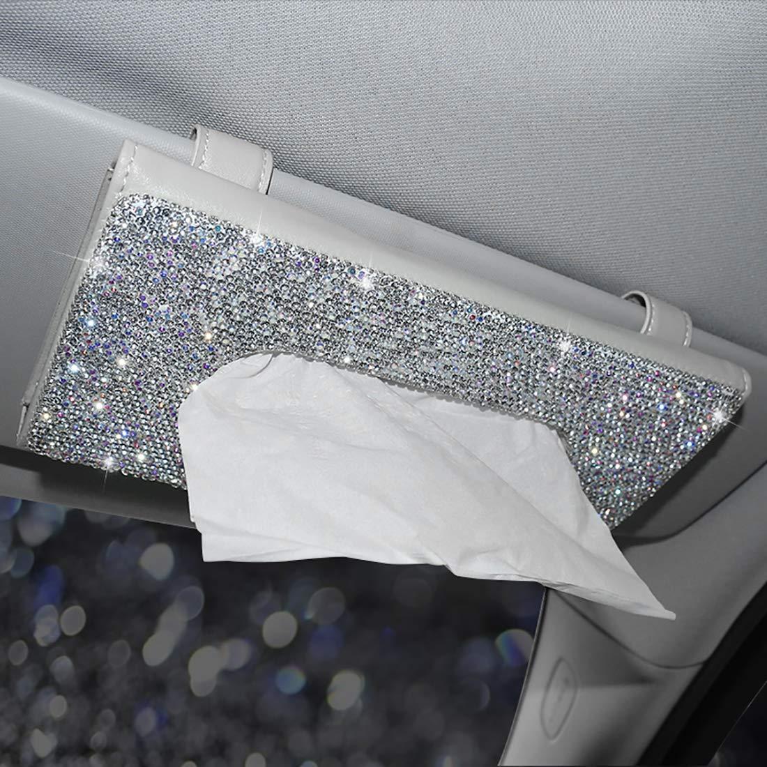 AUPER Car Visor Tissue Holder, Crystal Sparkling Napkin Holder Leather Crystals Paper Towel Cover Case for Women