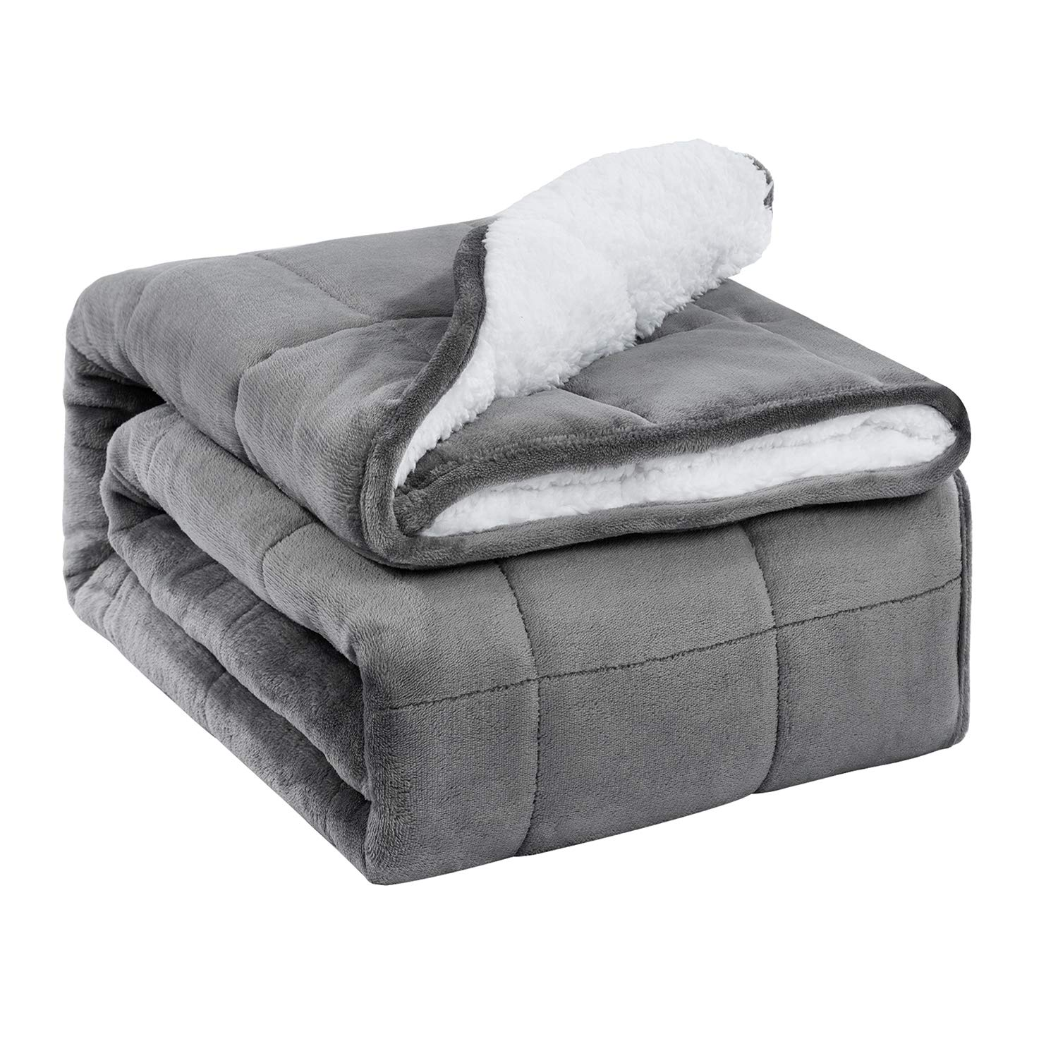 BUZIO Sherpa Fleece Weighted Blanket for Adult, 15 lbs Thick Fuzzy Bed Blanket with Soft Plush Flannel, Dual Sided Cozy Fluffy Blanket, 60 x 80 inches, Grey