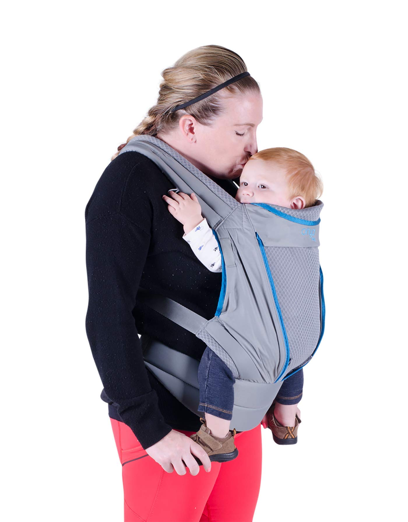 Onya Baby Pure Ergonomic Front and Back Infant to Toddler Carrier - Atoll Blue/Granite