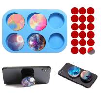 Phone Grip Resin Mold, 6-Cavity Circle Epoxy Resin On Top,Circle Silicone Mold for DIY Jewelry Making