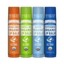 Dr. Bronner's - Organic Lip Balm (4-Pack Variety Peppermint, Orange Ginger, Naked, Lemon Lime) - Made with Organic Beeswax and Avocado Oil, For Dry Lips, Hands, Chin or Cheeks