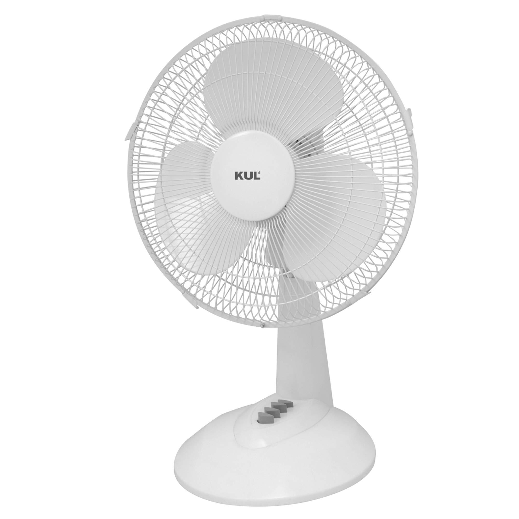 KUL  45-Watt 3-Speed Oscillating Table Fan, 16-Inch, White
