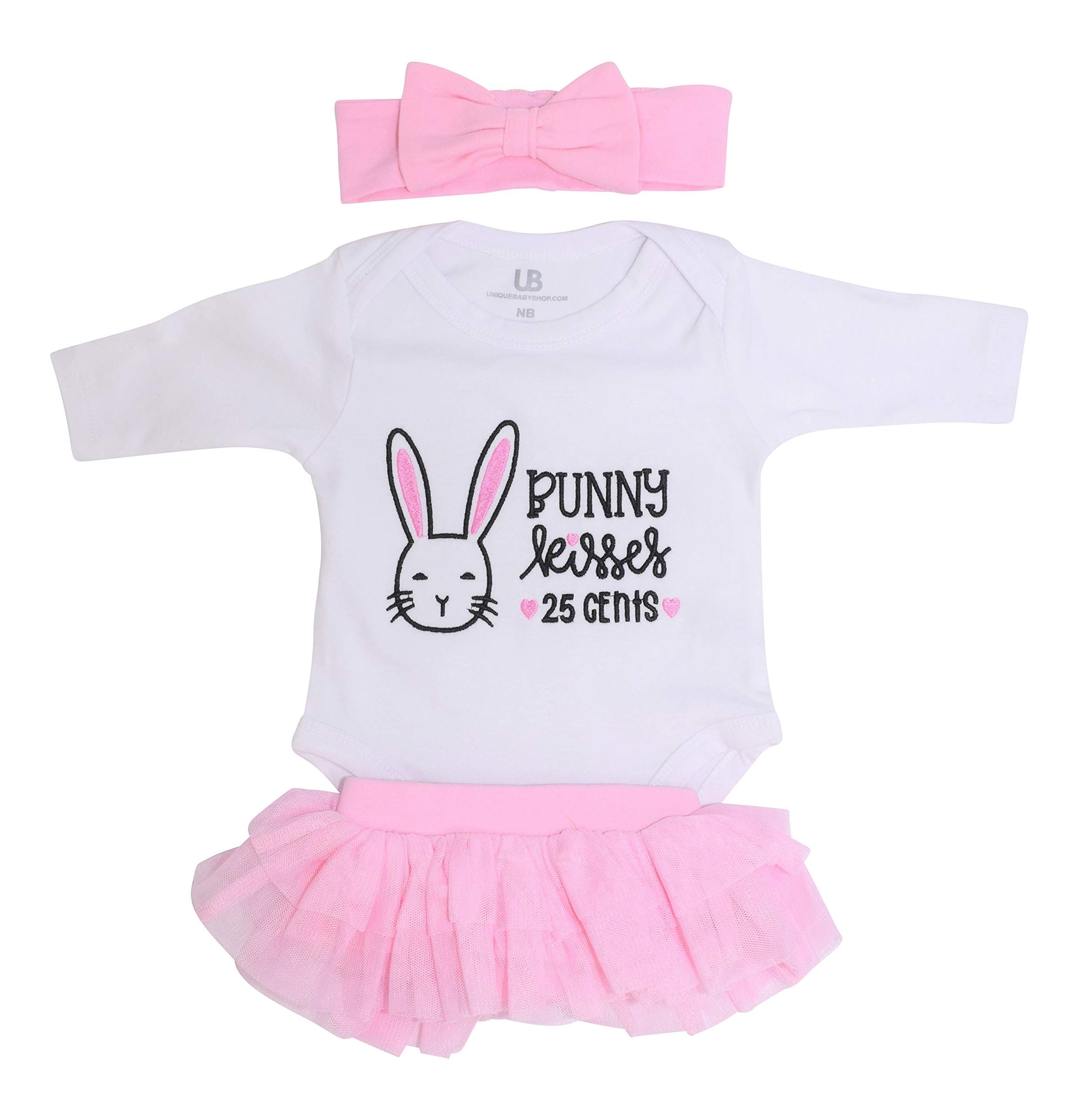 Unique Baby Girls My 1st First Easter Bunny Kisses Tutu Onesie Outfit Set