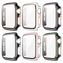 6 Pack Case for Apple Watch 38mm Series 3/2/1 Built-in Tempered Glass Screen Protector,JZK Ultra Thin HD Tempered Glass Full Coverage Hard Protective Cover for iWatch 38mm Accessories