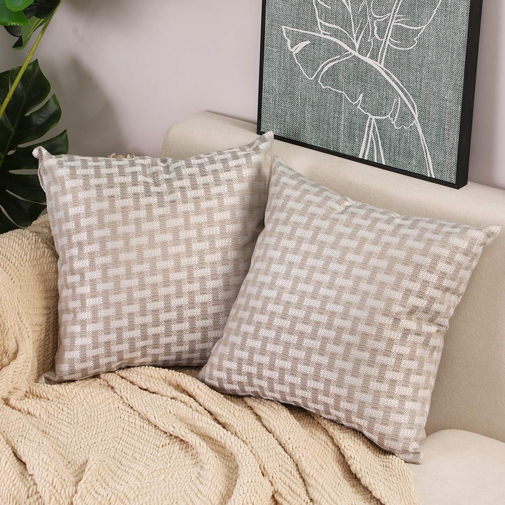 Btyrle Set of 2 Plaid Throw Pillows Covers 18x18 Inch Covers Decorative Checkered Pillowcases Square Linen Cushion Covers for Sofa Couch Bed,Beige,45x45cm