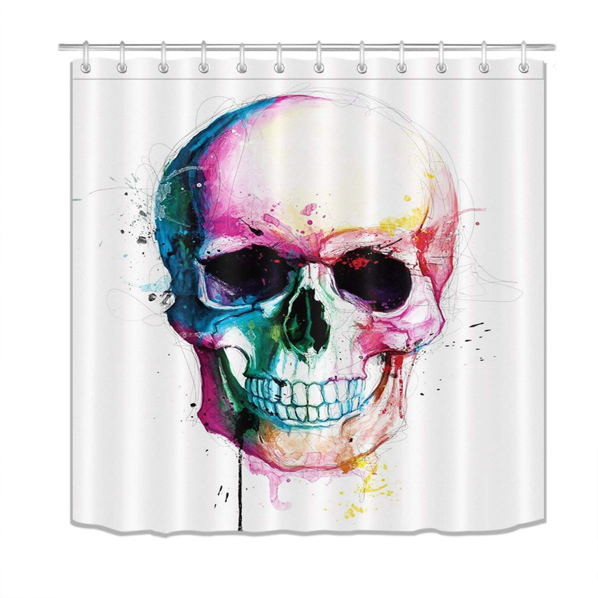LB Halloween Skull Shower Curtains for Bathroom Skeleton Shower Curtain with Hooks Hallowmas Bathroom Decorations 72x78 inch Extra Long Polyester Fabric Waterproof