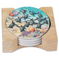 CounterArt Absorbent Round Stoneware Coaster Set with Wooden Holder - Turtle Hatchings, Printed in The USA