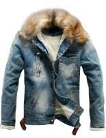 Omoone Men's Faux Fur Collar Sherpa Fleece Lined Distressed Denim Trucker Jacket