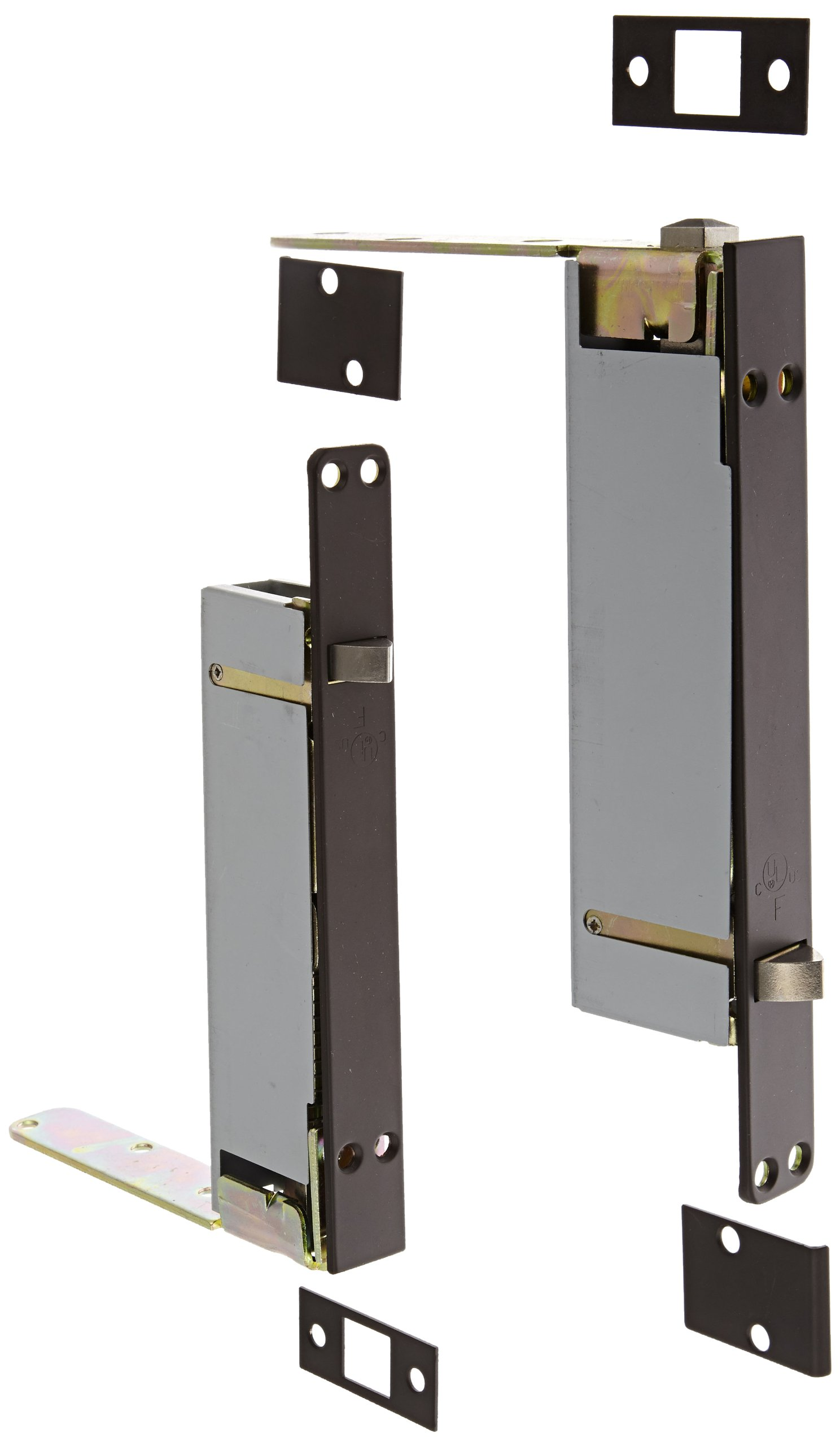"""Rockwood 2942.10B Automatic Flush Bolt Set for Wood or Plastic Covered Composite Type Fire Doors, 1"""" Width x 8-1/2"""" Length, Bronze Satin Oxidized Oil Rubbed Finish"""