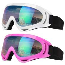 Elimoons Ski Goggles, Pack of 2, Snowboard Goggles for Kids, Boys & Girls, Youth, Men & Women, Helmet Compatible with UV 400 Protection, Wind Resistance, Anti-Glare Lenses