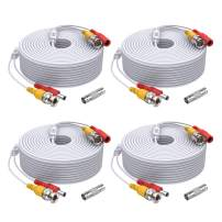 ANNKE (4) 150 Feet Video Power Cable for Security Camera System, All-in-One BNC Video and Power CCTV Security Camera Cable with Female Connectors (White)