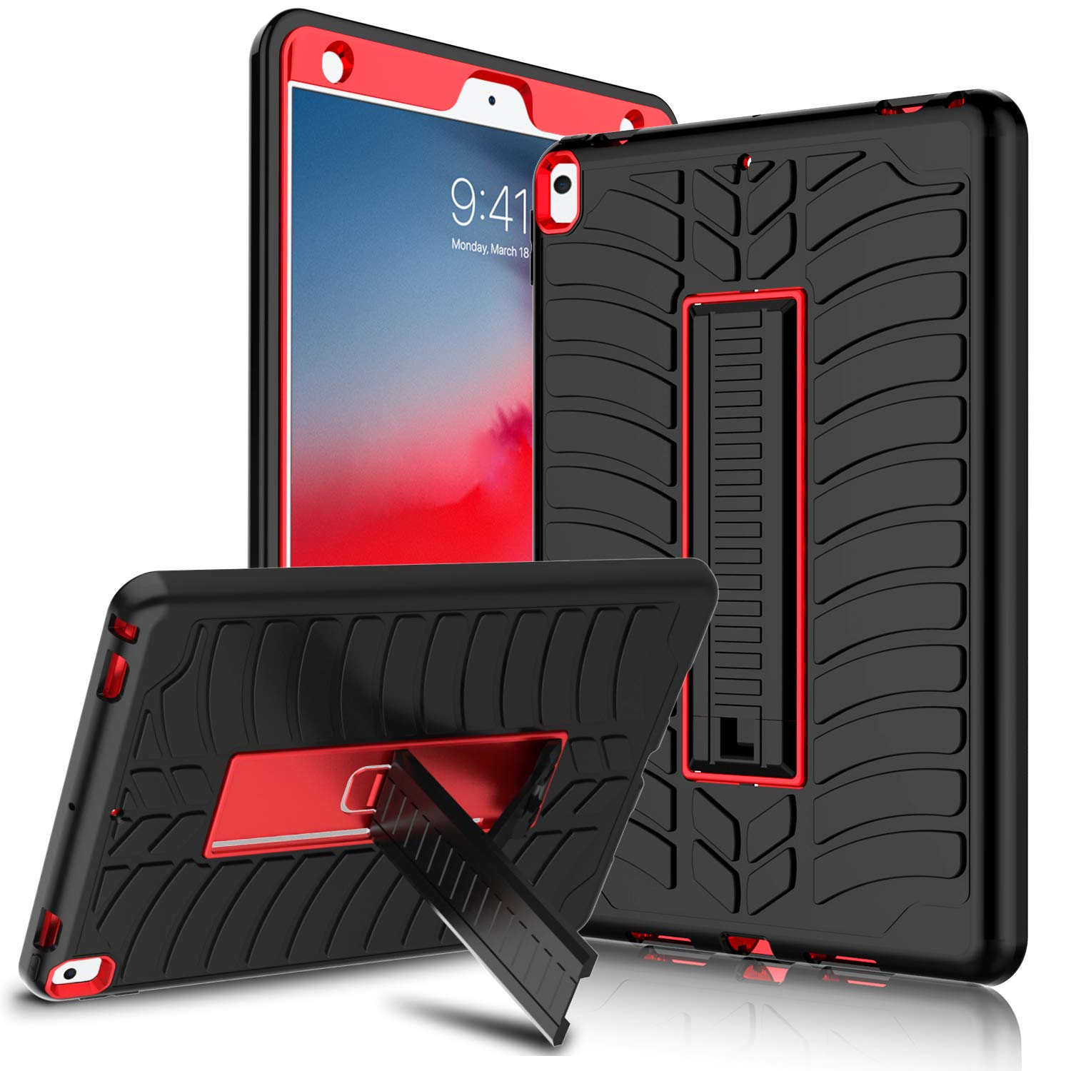 """Venoro iPad Air 3 Case 10.5, iPad Pro 10.5 Case, Kickstand Shockproof Full-Body Protective Case Cover for Apple iPad Pro 10.5""""/iPad Air(3rd Generation) 10.5"""" 2019 (Red/Black)"""