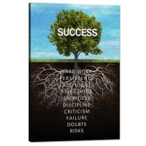 "Success Tree Wall Art Inspirational Painting on Canvas Motivation Entrepreneur Quotes Pictures Posters and Prints Artwork Modern Inspirng Office Decor Living Room Gym Decorations Framed (12""Wx18""H)"