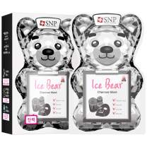 SNP - Ice Bear Charcoal Korean Face Sheet Mask - Pore Cleansing & Firming for All Oily Skin Types - 10 Sheets - Best Gift Idea for Mom, Girlfriend, Wife, Her, Women