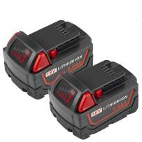 2 Packs M18 6000mAh 18V Cordless Tool Battery Packs Replacement for Milwaukee 18V 48-11-1815 48-11-1840 48-11-1841 48-11-1850 48-11-1820 48-11-1822 Cordless Power Tools with Led Indicators