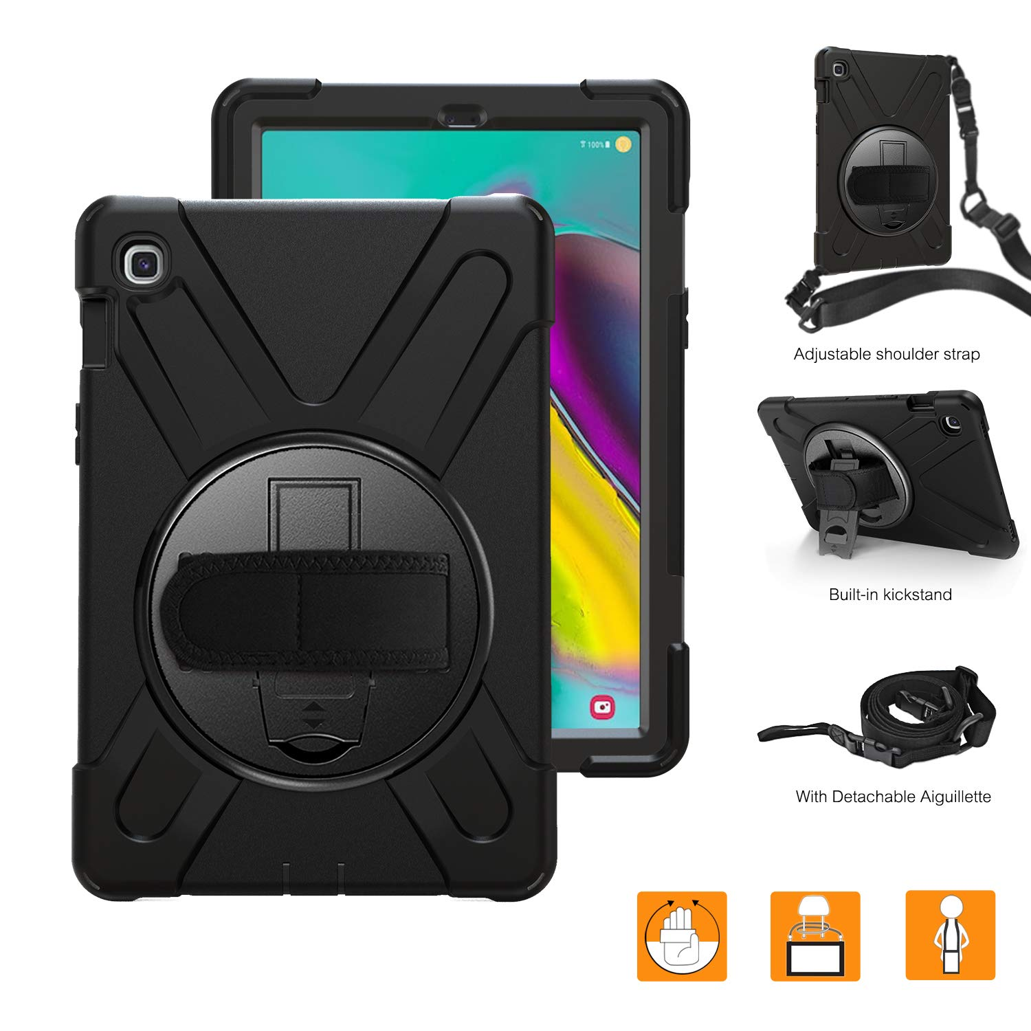 """BRAECNstock Galaxy Tab S5e 10.5 Inch 2019 T720 T725 Case, Heavy Duty Shockproof Cases with 360 Degree Rotating Hand Strap/Kickstand/Shoulder Strap for 10.5"""" Galaxy Tab S5e Tablet SM-T720/T725 (Black)"""