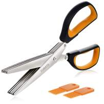 TURATA Herb Multipurpose Kitchen Scissors 5 Blades Stainless Steel with 2 Clean Combs, Soft Grip Rubber Handles, BLACK