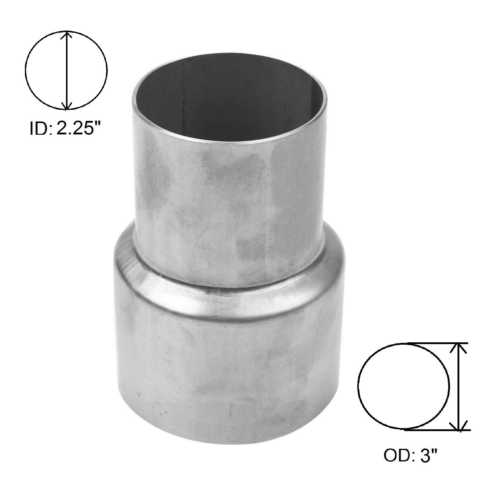 """BETTERCLOUD Universal 2.25"""" ID to 3"""" OD Exhaust Pipe Adapter Connector Reducer Mild Steel"""
