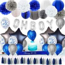 JOYMEMO Navy Blue Decorations for Baby Shower - Blue Baby Shower Decoration for Boys, Mommy to be Sash, Lanterns Honeycomb Ball, Confetti Balloons, Oh Boy Foil Balloons
