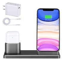 Wireless Charger Station Stand, Aluminum Alloy 2 in 1 15W Fast Charging Dock Stand with 18W USB-C Charger Compatible Airpods pro, iPhone 11 Pro/Xs Max/XR/8, Samsung Galaxy Note 10/S10/S9/S8 and More