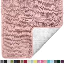 Gorilla Grip Original Luxury Chenille Bathroom Rug Mat, 48x24, Extra Soft and Absorbent Shaggy Rugs, Machine Wash and Dry, Perfect Plush Carpet Mats for Tub, Shower, and Bath Room, Dusty Rose