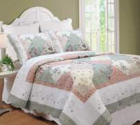 Cozy Line Home Fashions Floral Real Patchwork Tiffany Green Pink Lilac Scalloped Edge Country 100% Cotton Quilt Bedding Set, Reversible Coverlet Bedspread for Women (Celia, Queen - 3 Piece)