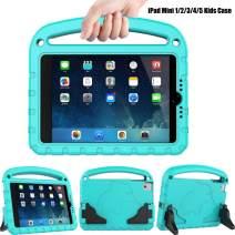 TIRIN Kids Case for iPad Mini 1 2 3 4 5, iPad Mini 5 2019 Case - Light Weight Shock Proof Convertible Handle Stand Kids Case for iPad Mini 1st/ 2nd/ 3nd/ 4th/ 5th Gen Tablet, Turquoise