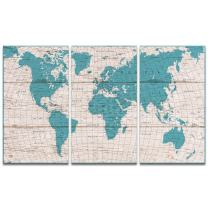 """Visual Art Decor Retro Xlarge Detailed Map of the World Canvas Prints Push Pins City Name Travel Map Picture Blue Wall Art Decoration for Office Living Room Ready to Hang (W-60"""" by H-36"""")"""