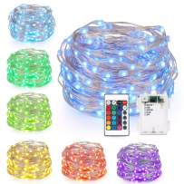 GDEALER 2 Pack RGB Multi Color Change String Lights Fairy Lights Battery Operated Fairy String Lights Remote Control Waterproof Firefly Lights 16ft 50 Led Christmas Lights Christmas Decor