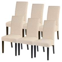 SearchI Dining Chair Covers Stretch Jacquard Parsons Chair Slipcovers Seat Protector Set of 6, Removable Washable Spandex Kitchen Chair Covers for Dining Room (Beige)