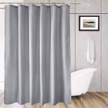 AooHome Short 72x66 inch Shower Curtain Liner, Durable Fabric Solid Color Shower Curtin with Hooks, Reinforced Grommets, Weighted Hem, Waterproof, Light Grey, 72 Width by 66 Height inch