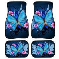 chaqlin Personlized Butterfly Front & Rear Floor Mats for Car, Truck, SUV & Van All Weather Liners, 4 Piece Set Kick Mat Blue