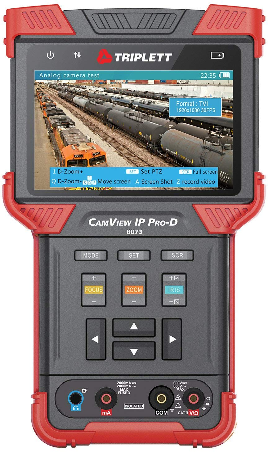 Triplett CamView IP Pro-D All-in-One IP, AHD 2.0, HD-TVI 3.0, and HD-CVI 3.0 Camera Tester with Built-in DHCP Server (8073)
