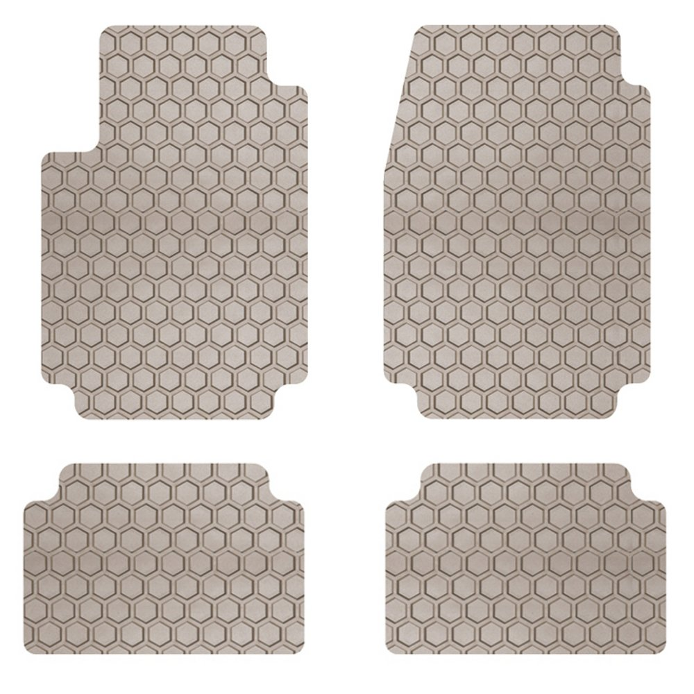 Intro-Tech AR-118-RT-T Hexomat Front and Second Row 4 pc. Custom Fit Auto Floor Mats for Select Alfa Romeo Giulia Sprint Models - Rubber-Like Compound, Tan