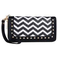 Women Wave Pattern Wallet Double Zip Around Wristlet with Perforated Stud RFID Blocking
