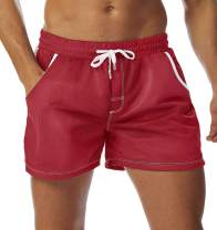 SILKWORLD Men's Mesh Running Athletic Shorts with Pockets 101-Red,Small
