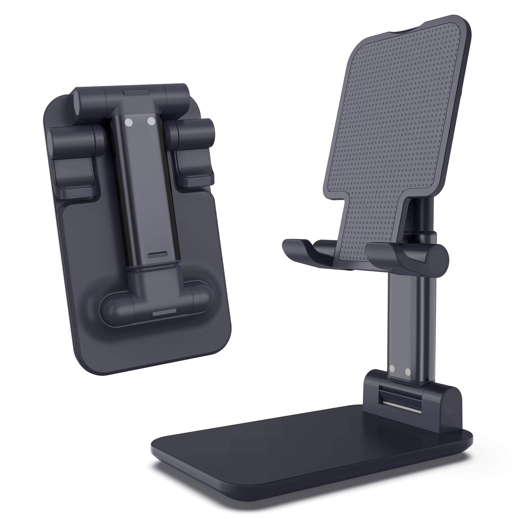 Imguardz Cell Phone Stand, Adjustable Desktop Holder Cradle Dock, Premium Foldable Tablet Stands, Compatible with iPhone 11 Pro Xs Max Xr 8 Plus, iPad, Nintendo Switch, Smartphone (Black)