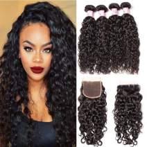Beauty Forever Brazilian Water Wave Human Hair Bundles With Closure 7A Grade 100% Brazilian Virgin Hair 3 Bundles With Lace Closure Free Part Natural Color (12 14 16 &Closure 10)