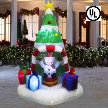 ANOTHERME 6 Feet Christmas Inflatable Tree with Rotating Snowmen and Twinkle Lights Decor, Air Blown LED Lighted, Outdoor Indoor Holiday Yard Decoration